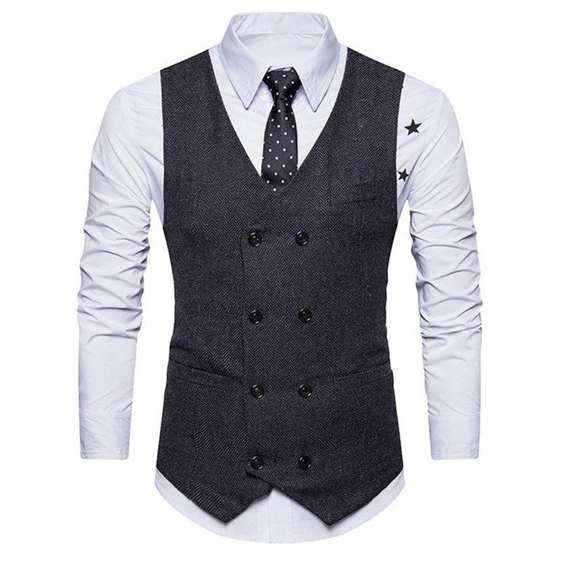 6abd6b703f9e6 2019 Adisputent Men Vest Suit Patch Work Formal Blazer Waistcoat Sleeveless  Vintage Smart Casual Double Breasted Vneck Vest Plus Size From Yonnie