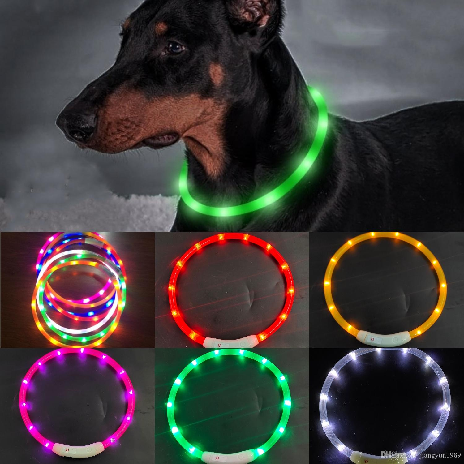 Cut USB Charge Dog Training Collar LED Outdoor Luminous charger Pet Dog Collars light Adjustable LED flashing dog collar Gift Box Packing