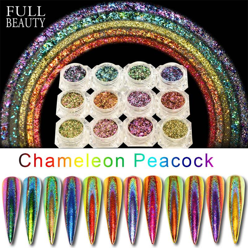 Art Glitter 0.2g Peacock Holographic Chameleon Nail Sequins Colorful Laser Glitter Powder Dust Nail Art Decorations Pigment CHQC01-12-1