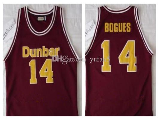 official photos 5e33e 7cc92 #14 Tyrone Muggsy Bogues Dunbar Poets High School Retro Classic Basketball  Jersey Mens Stitched Custom Number and name Jerseys
