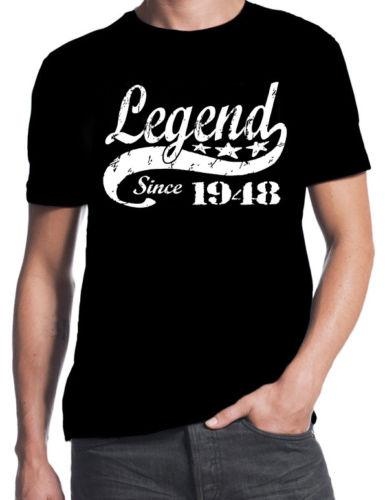 70th Birthday Legend Since 1948 70 Years Old Gift Idea Dad Present Black T Shirt Men 2018 New Fashion Print Fitness Funny Tee Shirts For Sale