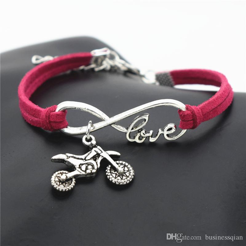 Wholesale New Fashion Silver Infinity Love Motorcycle Autocycle Jewelry for women and men red leather rope bracelets Bangles nice Party gift