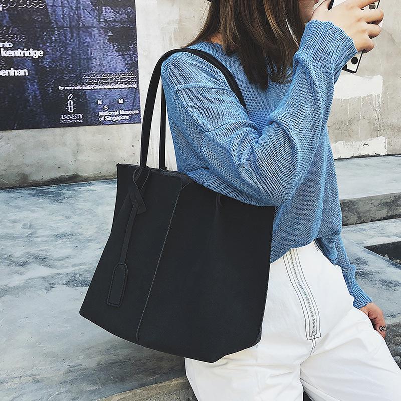 3d37791e0c320 Großhandel LUCDO Hohe Qualität Frauen Wildleder Handtaschen Aus Weichem  Leder Frauen Tasche 2 STÜCKE Handtaschen Set Weibliche Umhängetaschen Große  Lässig ...