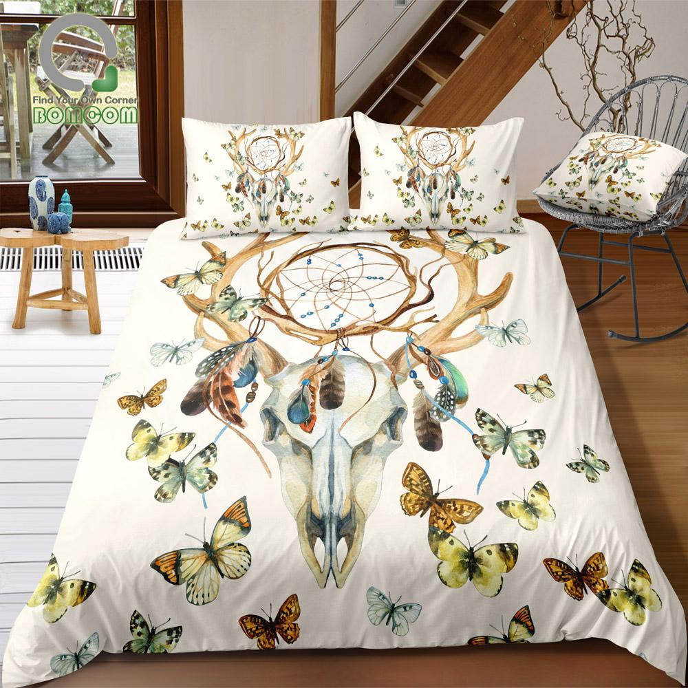 BOMCOM 3D Digital Printing Bedding Set Deer Skull Dreamcatcher Feathers Butterfly 3-Pieces Duvet Cover Sets 100% Microfiber