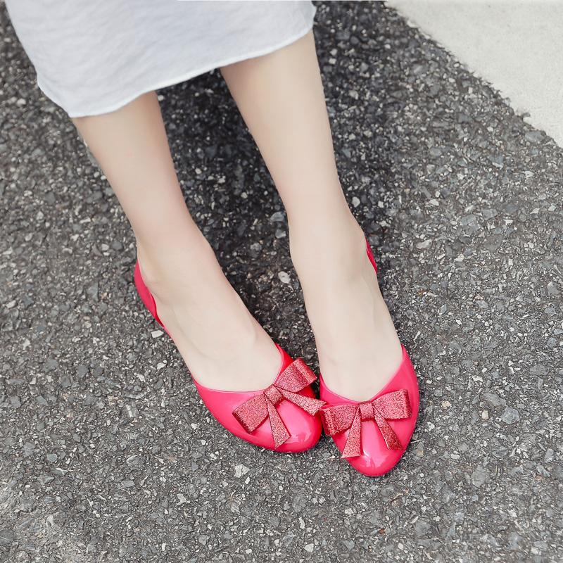 Sweet bow-knot jelly sandals girls all-match closed toe transparent shoes women cute comfortable sandalias feminina flipflops