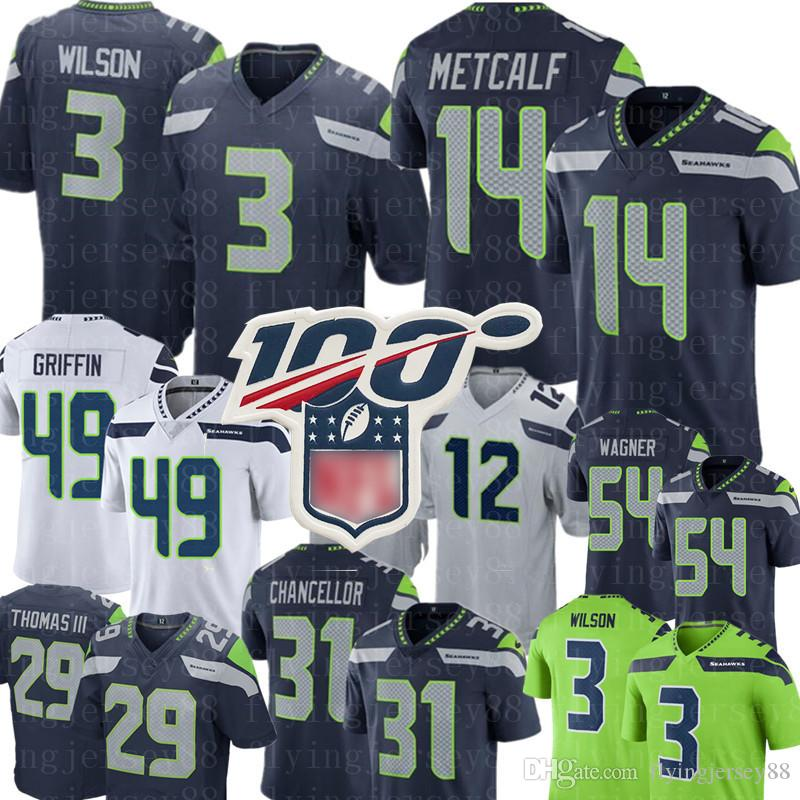 Seattle Jersey Seahawk 3 Russell Wilson 14 DK Metcalf 12th Fan Jersey 54 Bobby Wagner 16 Tyler Lockett 49 Shaquem Griffin Football