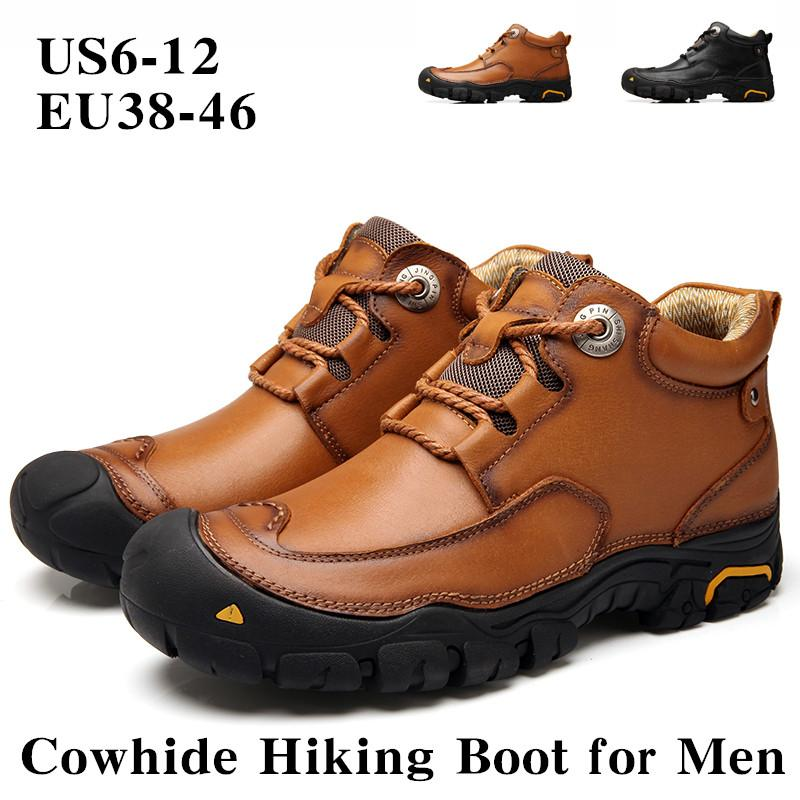 Men's Hiking Work Boots Leather Winter Outdoor Waterproof Snow Shoes Walking Climbing Sneakers Travel Training Shoes