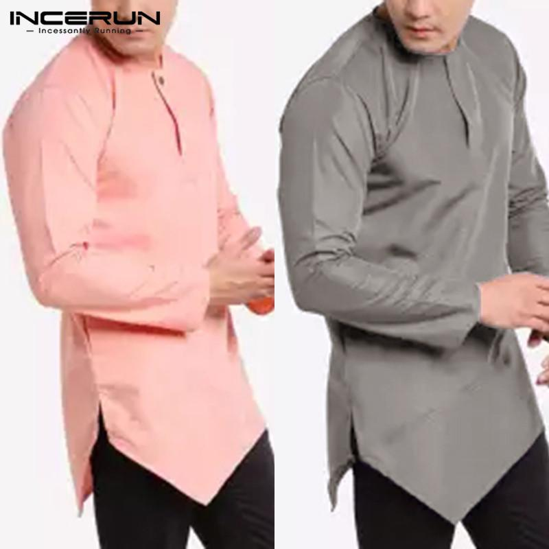 35615b2653 Compre 2019 Camisa Casual De Manga Larga Para Hombre O Cuello Suelto  Irregular Dobladillo Tops Camisas De Vestir Sólidas Hombres Indian Kurta  Traje ...