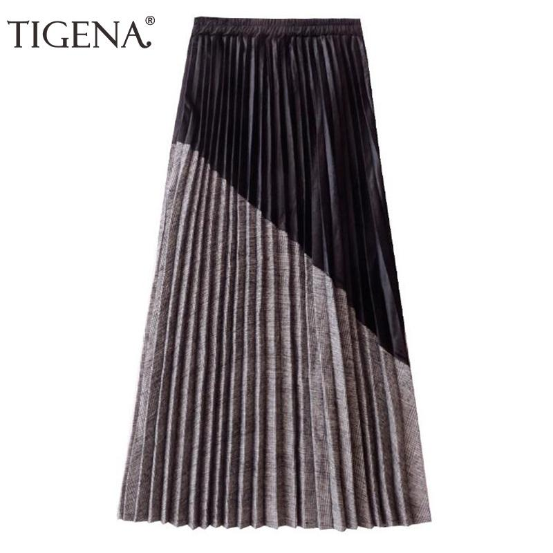 Tigena New Arrivals Patchwork Suede Pleated Skirts Women 2018 Autumn Winter High Waist Vintage Plaid Long Maxi Skirt Female Q190401