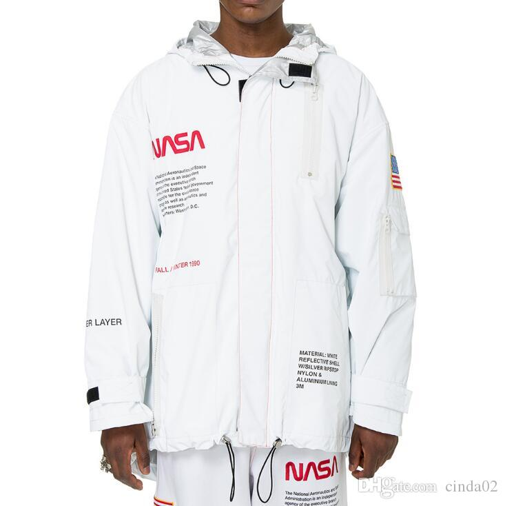 e3393346b HERON PRESTON NASA High Tech Parka Men Reflective Windbreaker Black White  Long Length Jacket Long Outerwear Coat For Men Leather Jackets Men From ...