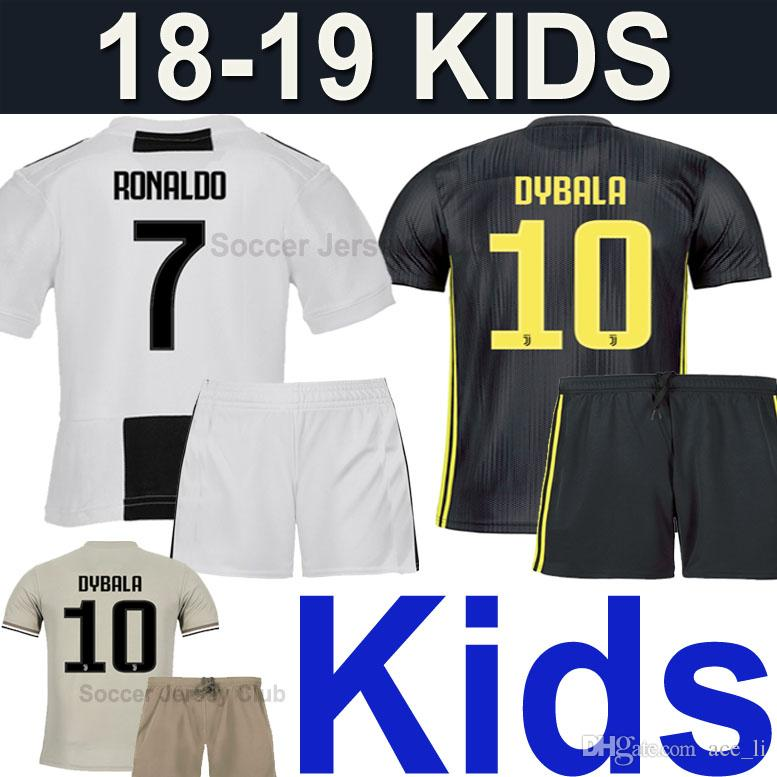 meet 21eb6 fdd1d 18 19 JUVENTUS Kids kits RONALDO MANDZUKIC EA Sports soccer jersey 2019  Child DYBALA KHEDIRA PJANIC JUVE boys football shirt Thai quality
