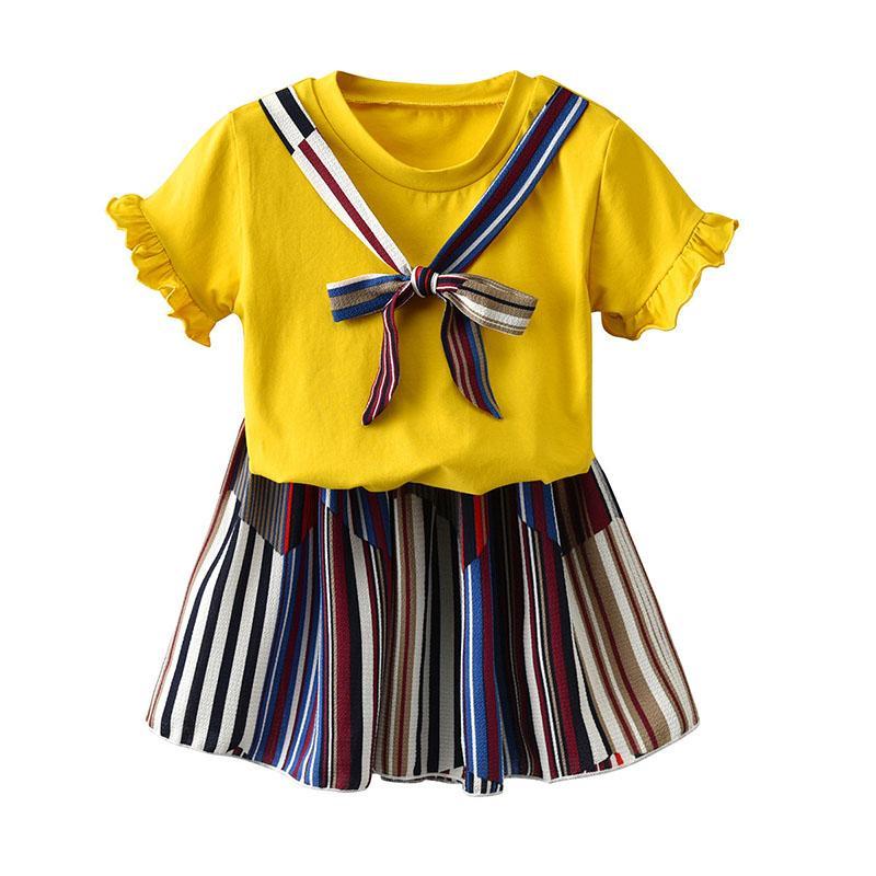 63932568 Ropa de diseñador para niños trajes para niñas niños tops faldas de rayas 2  unids / set 2019 de moda de verano Boutique ropa de bebé Conjuntos ...