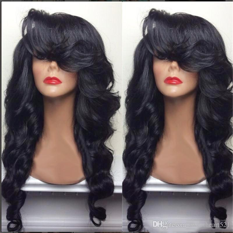 Natural Hairline 180% Density Black Long Body Wave Hair Heat Resistant Fiber Glueless Synthetic Lace Front Wigs with Side Bangs for Women