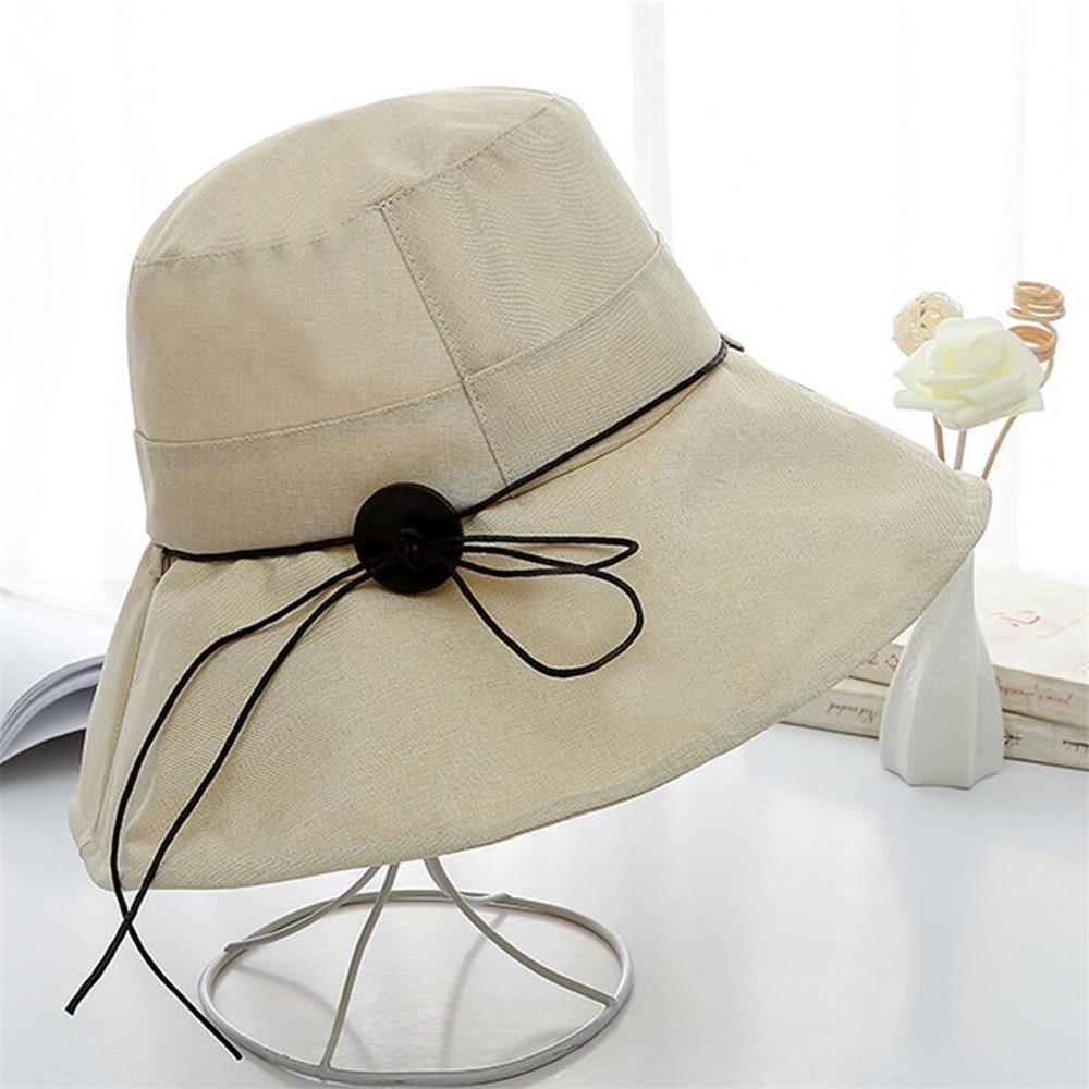 d4dc1c61 Luxury Womens Sun Hat Anti-uv Summer Reversible UPF 50+ Beach Hat Foldable Wide  Brim Cap Buckle Drawstring