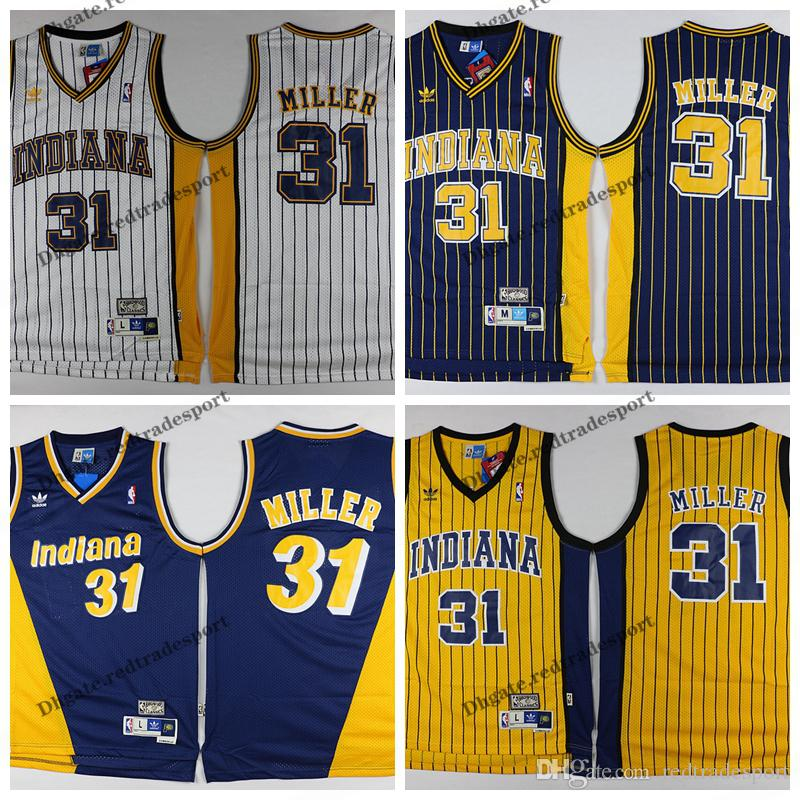 c63b139e7d0d 2019 Mens Reggie Miller Indiana Vintage Pacers Basketball Jersey  31 Cheap  Yellow Blue Reggie Miller Stitched Shirts S XXL From Redtradesport
