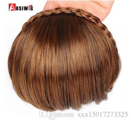 6inches Clip-In Short Bangs Braid Blunt Natural Hairpieces Heat Resistant Synthetic Women Hair 2 Styles Available Natural Fake Hair