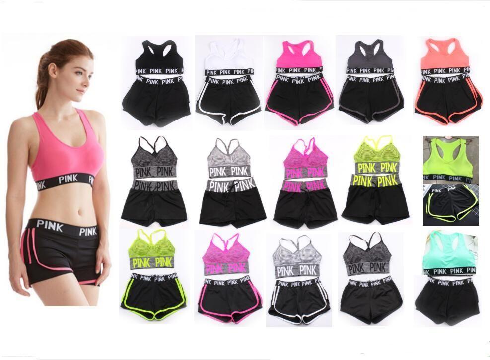 de9f0bbe9cf3 2019 Pink Letter Tracksuit Bra Set Short Pants Two Pieces Women Underwear  Crop Top Bra Vest Shorts Fitness Yoga Sports Suit Summer Sportswear Hot  From ...