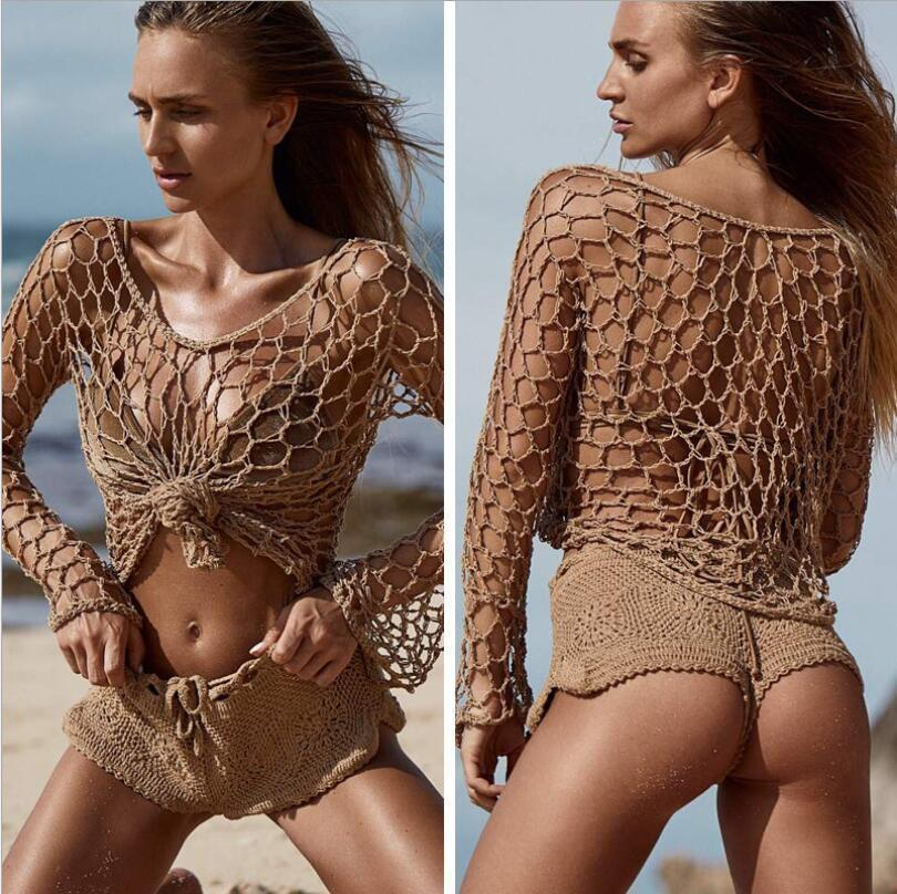 99a4b43d90b67 2019 2019 Women Sexy Crochet Beach Cover Up Fishnet Sarong Wrap ...