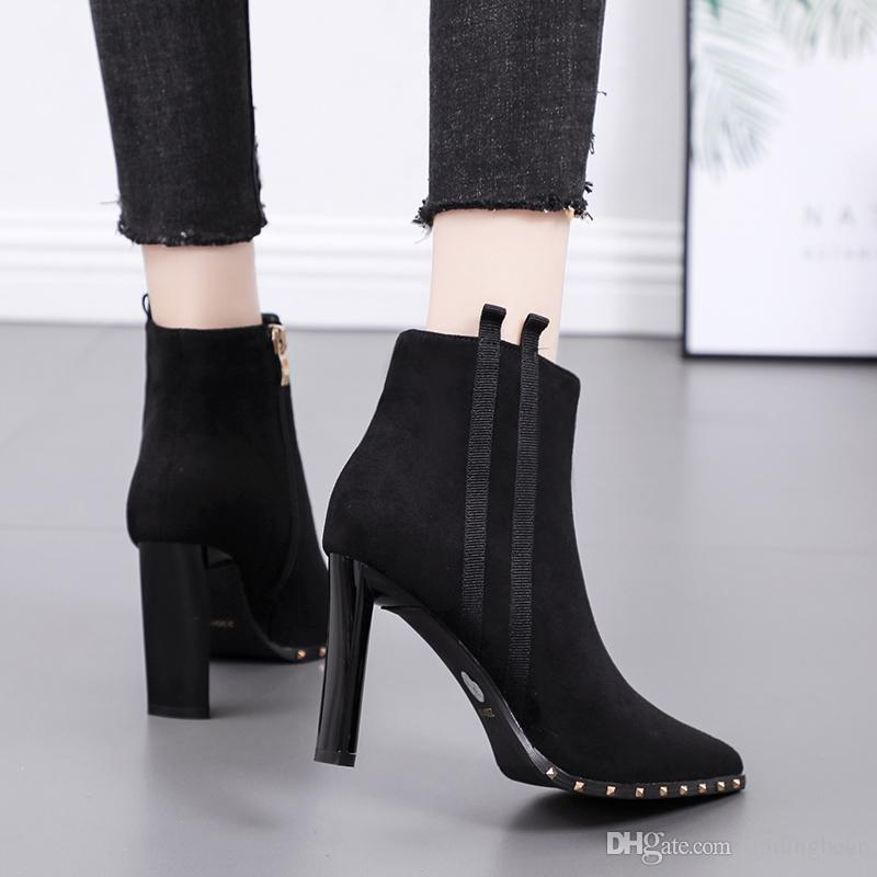 Fashion rivets mixed color pointed toe designer ankle boots sexy high heels khaki black size 34 to 39