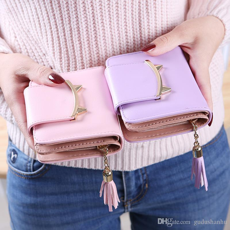 2019 New Style Ms Wallet Female Short Cool Tassled Zip Cute Purse Cat Small Bi-Fold Wallet