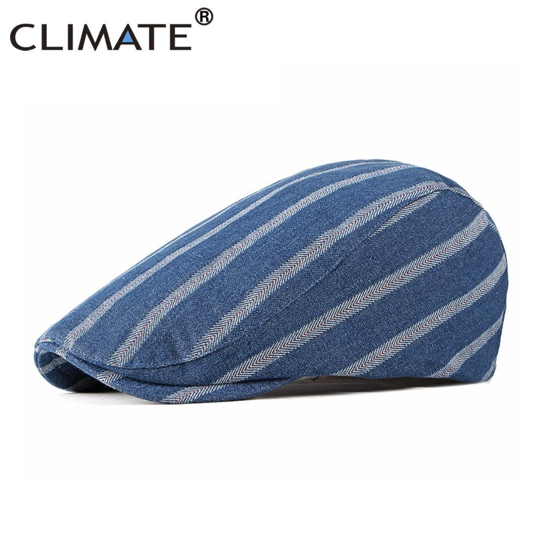 CLIMATE Men Denim Beret Flat Cap Men Striped Jeans Denim Hat Berets ... e2c5ba7e055
