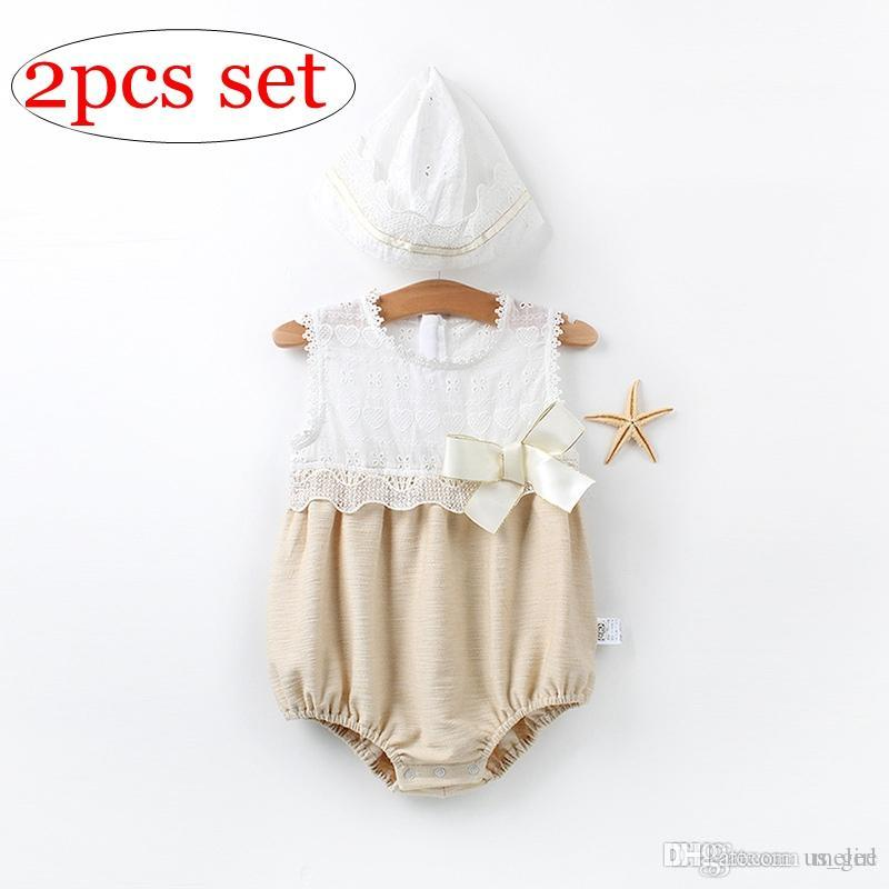 ins summer 100% cotton newborn big bow rompers with nb hats 2pc set kids full lace fly sleeved rompers jumpsuits with caps