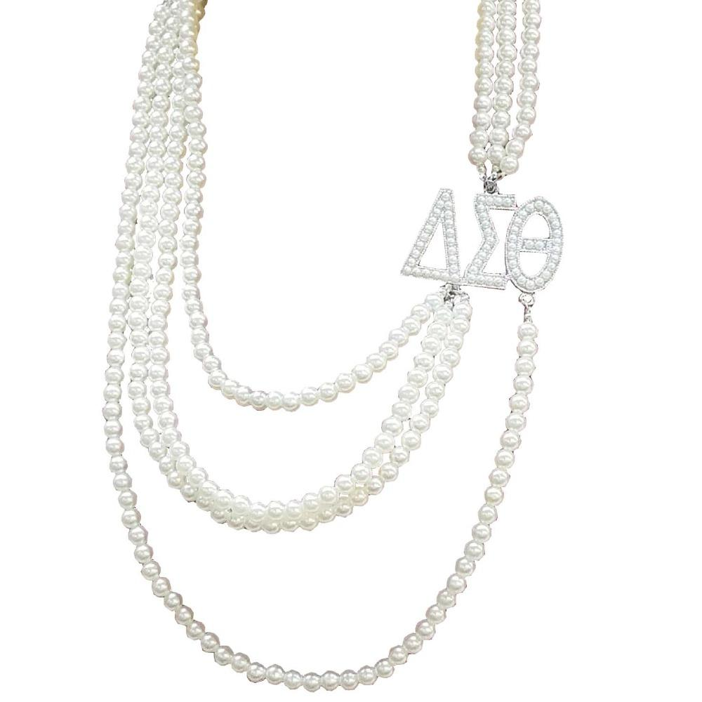 Chain Necklaces Greek Sorority Multilayer Long Pearl Delta Sigma Theta letters Pendant Jewelry DST Custom Necklace