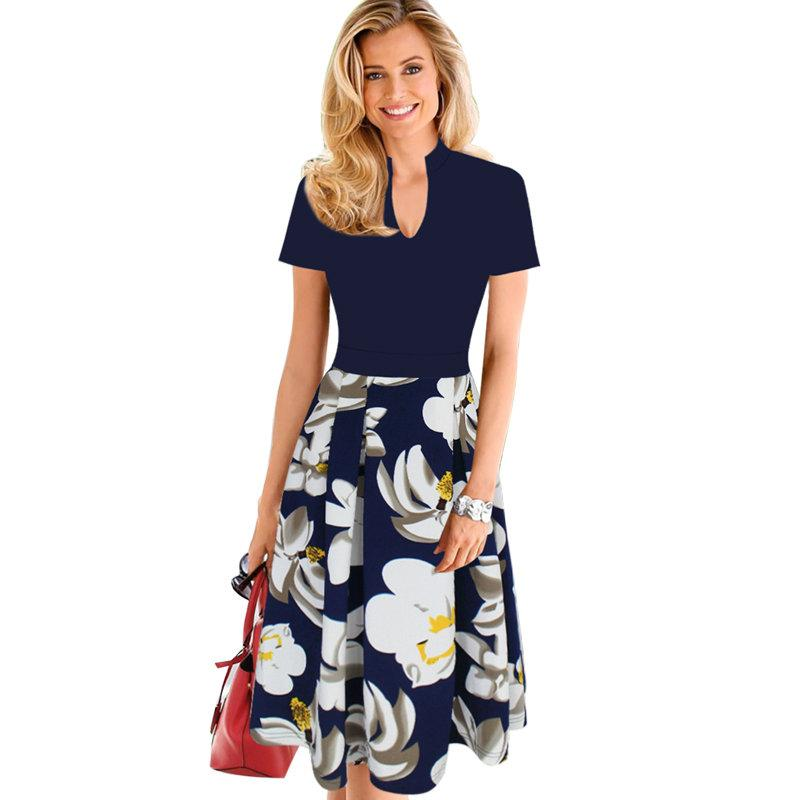 Lcw New Design Womens Elegant Floral Print Contrast Patchwork Tunic Vintage Casual Work Party Fit And Flare A Line Skater Dress