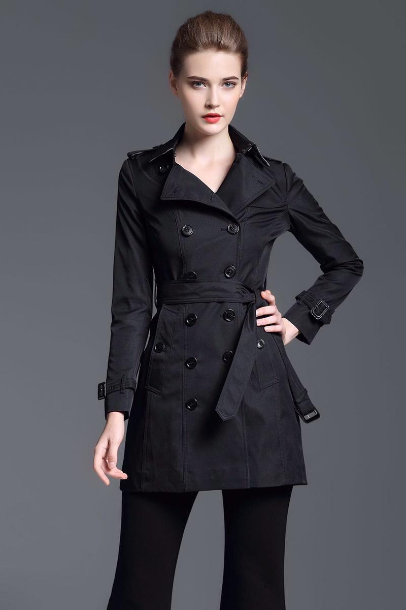 Скидка Лондон Brit Long пальто для женщин Двойной Брестед Slim Fit Весна Англии Твердых пальто осени Belted Классического черного пиджака