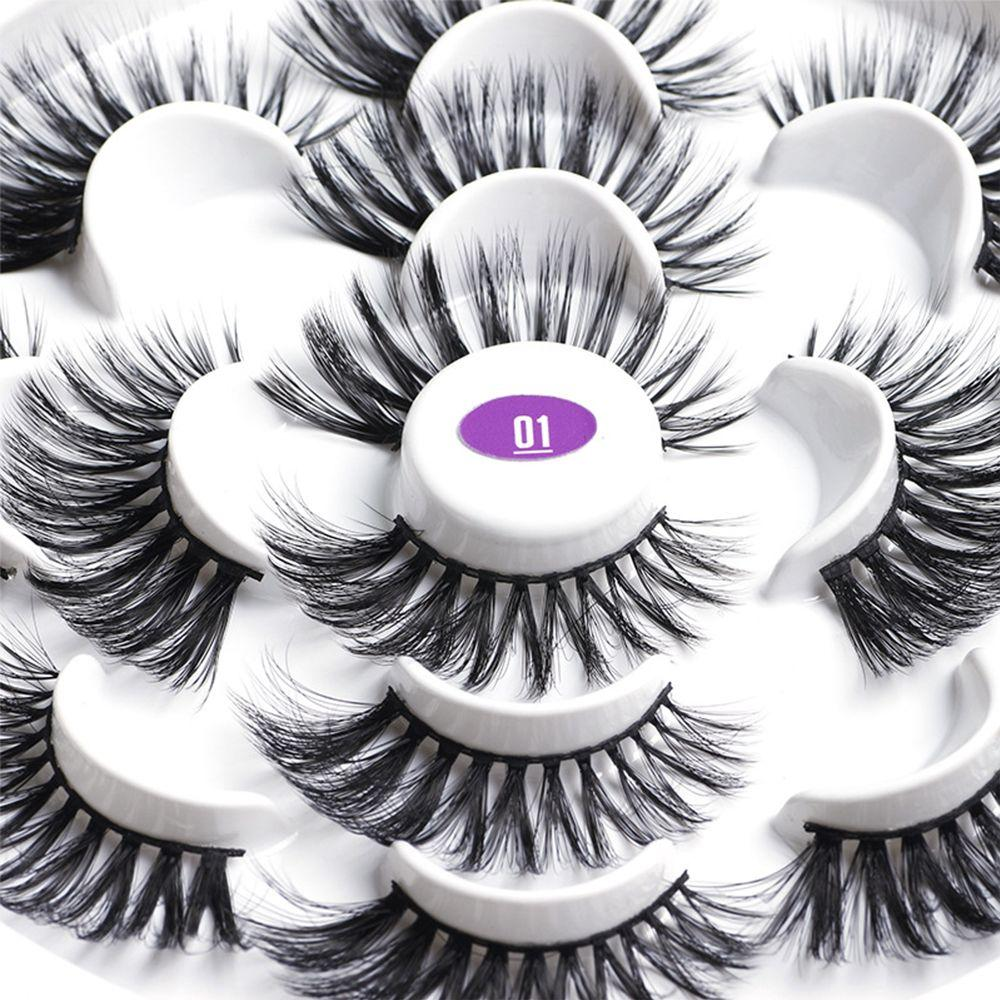 7 Pairs 3D Mink Hair False Eyelashes 25mm Lashes Thick Long Wispy Fluffy Handmade Cruelty-free Mink Eyelash Makeup Tools