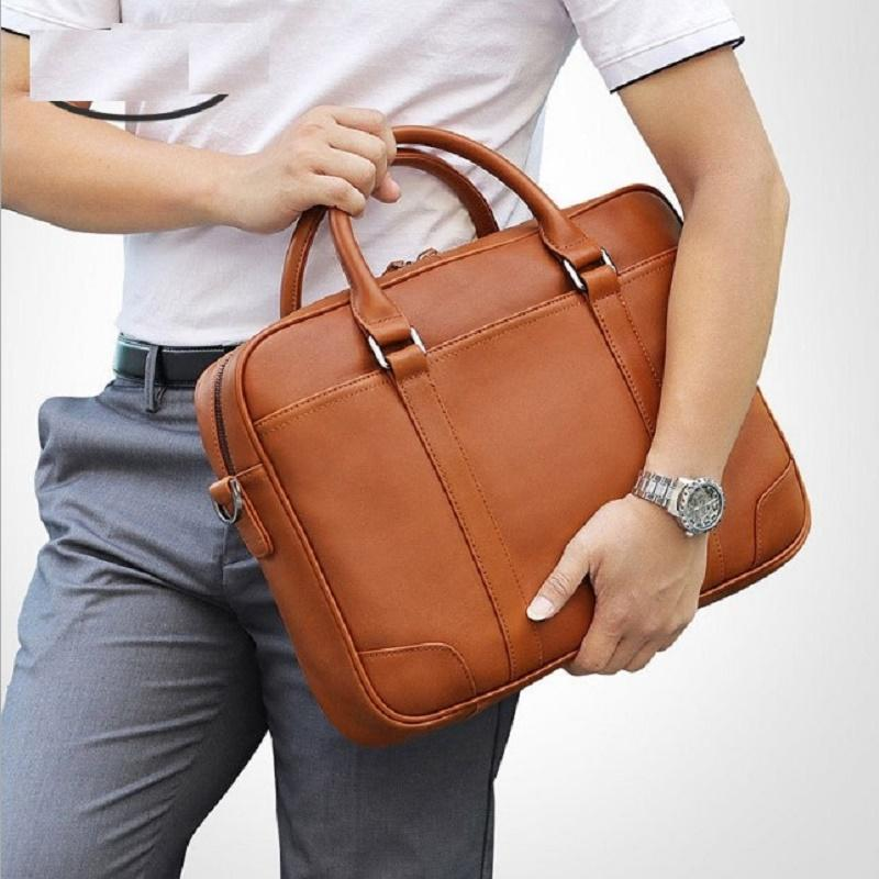 e805650b6 Travel Handbag Cow Leather Men Briefcases 2019 Male Briefcase Brown 15