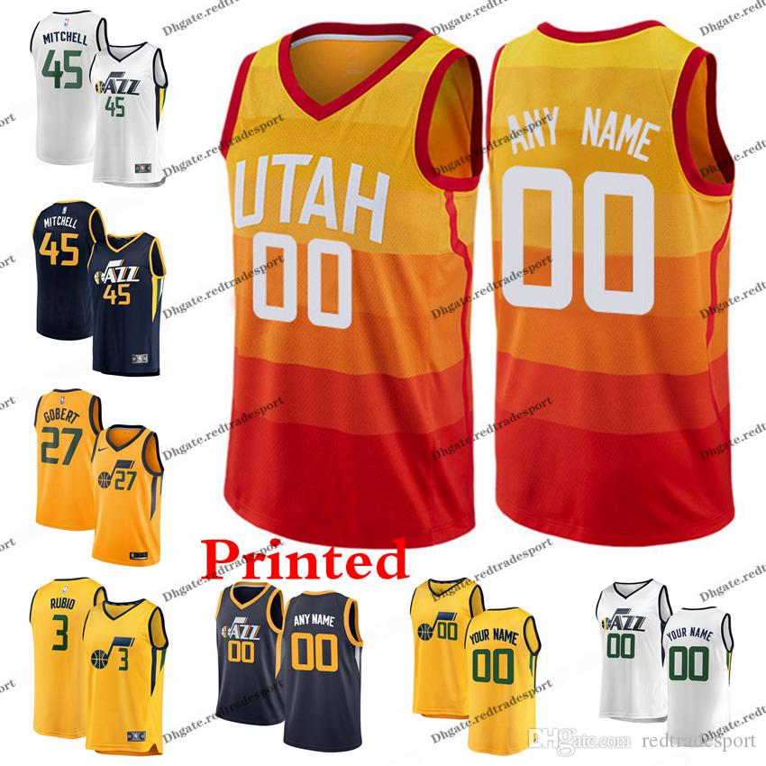 outlet store 5b123 d13c5 2019 Printed Utah City Jazzs Donovan Mitchell Kyle Korver Ricky Rubio Jae  Crowder Rudy Gobert Dante Exum Ingles Edition Basketball Jersey