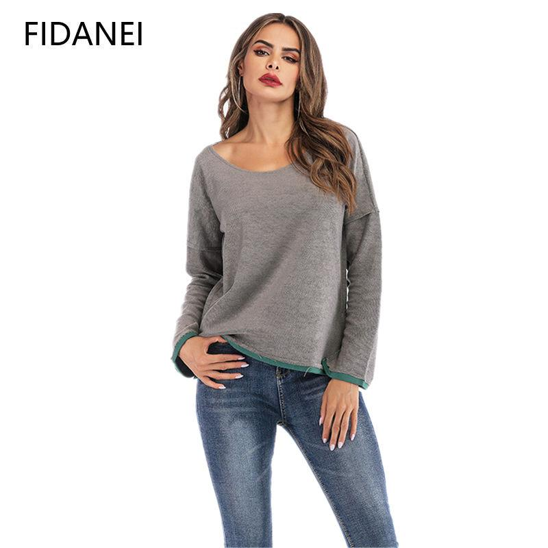 2aad24c16 2019 Spring Women Hoodies Solid Color Patckwork Bluza Damska Long Sleeve  Loose Two Sides Wear Mujer V Neck Sweatshirt Femme Tops From Jellwaygood,  ...