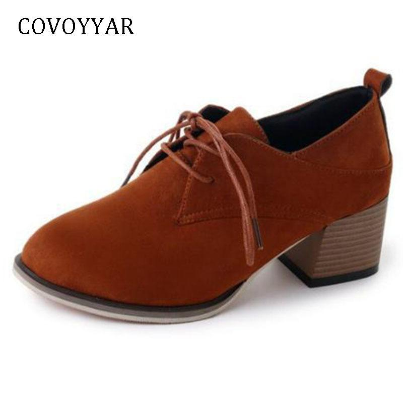 1657e3d3db86 Acquista Designer Dress Shoes COVOYYAR New 2019 Autunno Punta A Punta Delle  Donne Pompe Flock Solid Chunky Tacchi Alti Lace Up Donne Stivaletti WHH659  A ...
