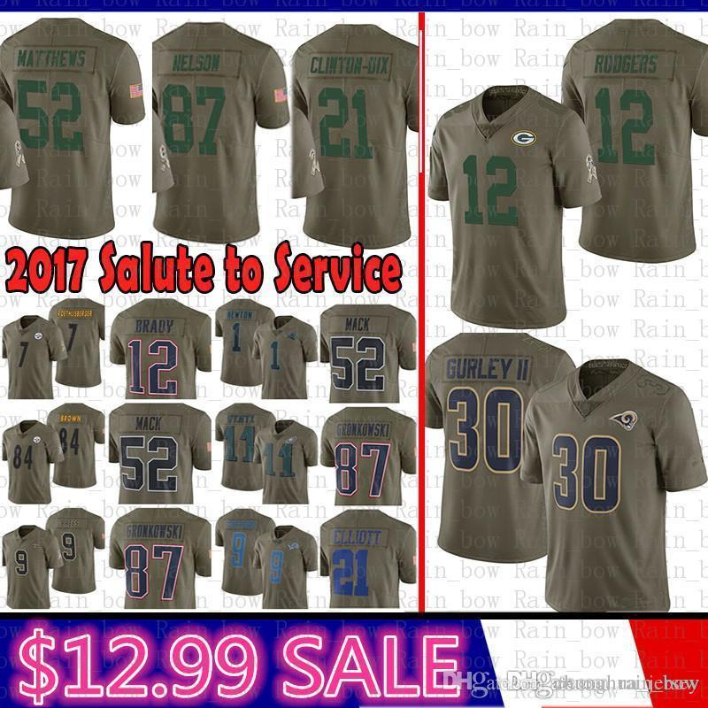 best website afce5 583bd best Green Bays Packers 2017 Salute to Service Jersey 12 Aaron Rodgers 21  Clinton-Dix 52 Clay Matthews St.louis Rams Nelson 30 Todd Gurley