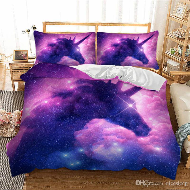 3D New Products star unicorn printing bedding sets purple New Style dreamy bed sheet Twin Full Queen Size