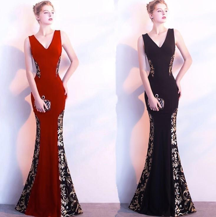 00c2ff2f9b59d Promotion Women s Shoulder V Neck Floor Length Black Gown Party ...