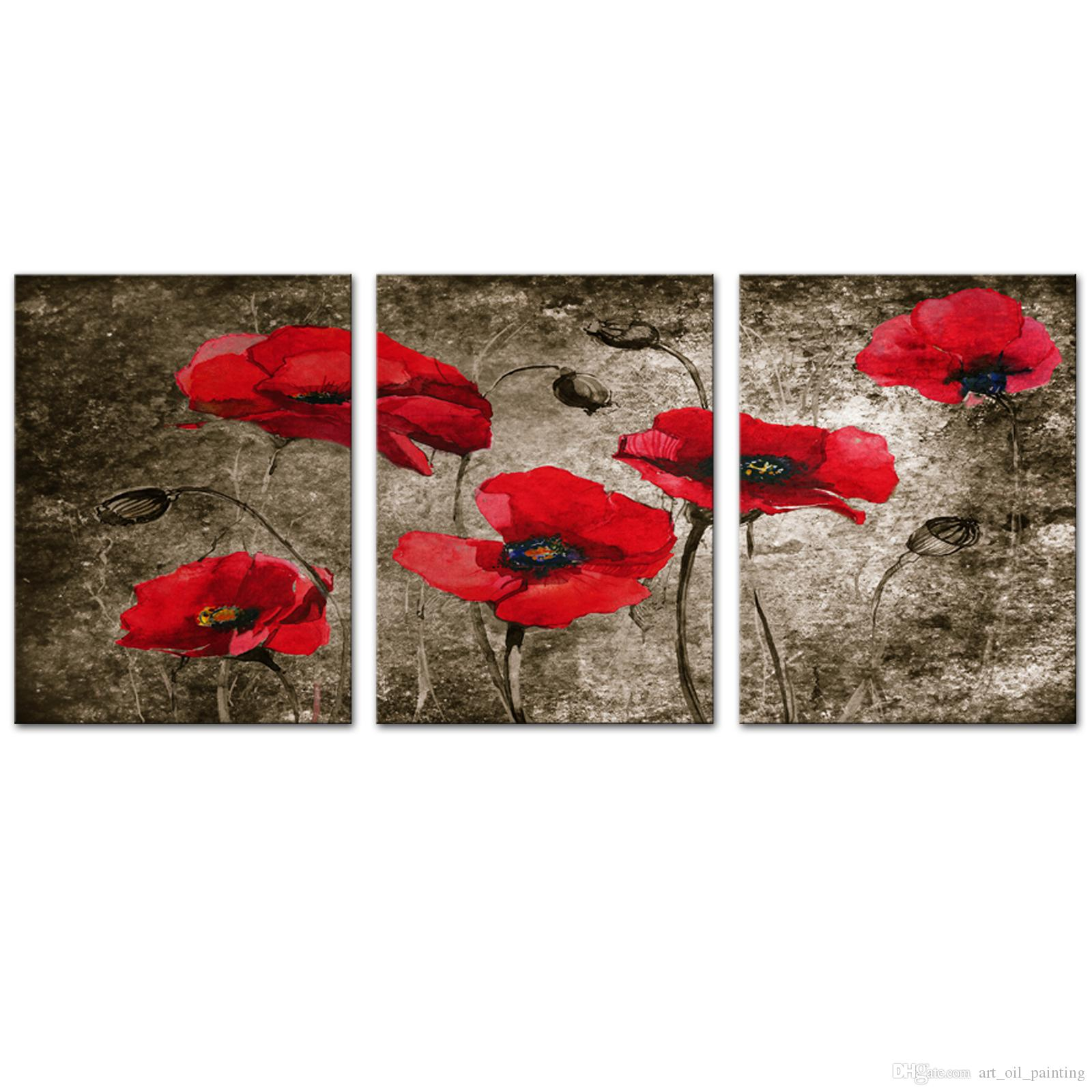 3 Pieces Antique Style Wall Art Canvas Painting Plants Poppies Flowers Picture of Christmas Gifts For Home Living Room Decoration
