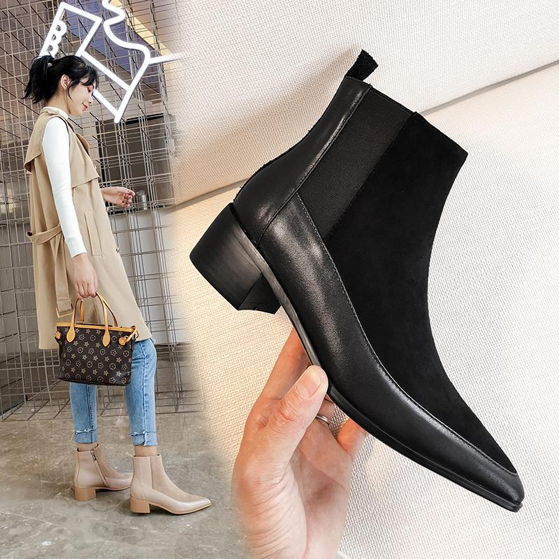 women Ankle boots Genuine Leather 22-24.5 cm feet length ankle boots for women Leather stitching online celebrity