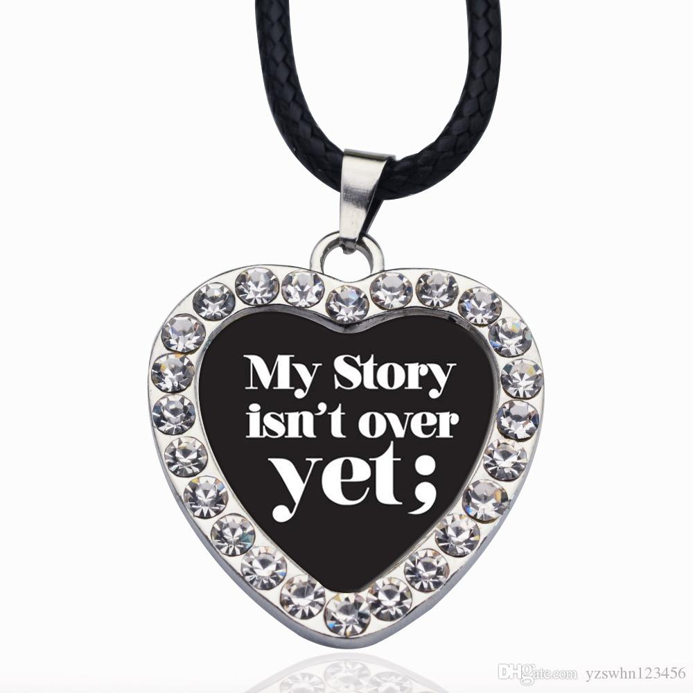 MY STORY ISN'T OVER YET SEMICOLON MOVEMENT CIRCLE CHARM Crystal Round Small Pendant Necklace Elegant Women Jewelry Gifts