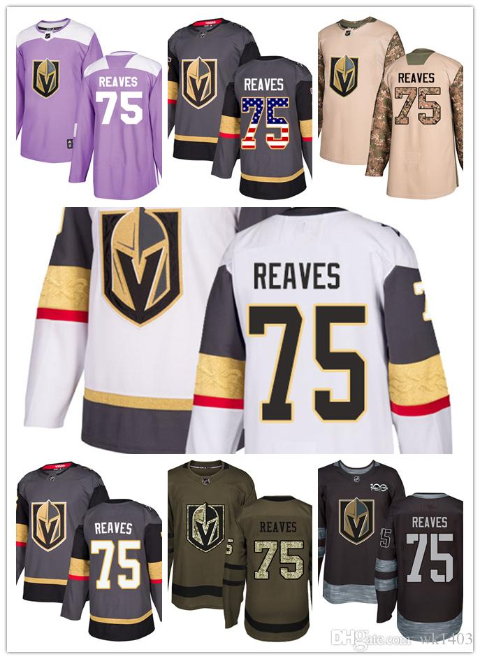 Vegas Golden Knights Jerseys  75 Ryan Reaves Jersey Ice Hockey Men Women  Gray White Black Authentic Winter Classic Stiched Gears Jersey UK 2019 From  Wk1403 dfeafe2ae