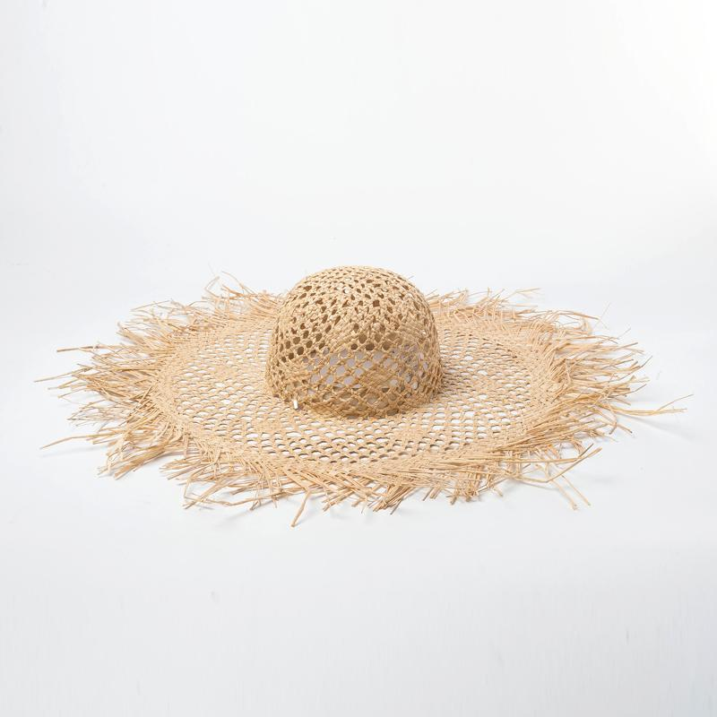 Packable Hats Open Weave Summer Raffia Straw Hat With Raw Brim Edges 2019  Fashion Women S Beach Floppy Hat Wide Brim 691062 Tea Party Hats Rain Hat  From ... 7c844a4834e0