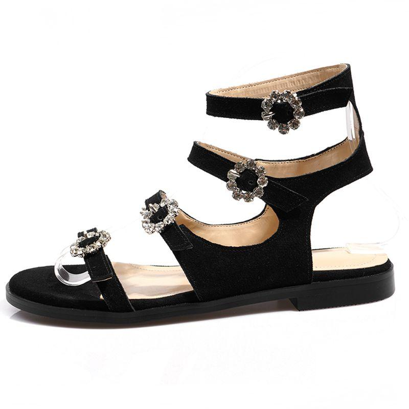 2066ca34b33e ENMAYER Cow Suede Gladiator Sandals Women Black Crystal Women Fashion  Sandals Low Heel Summer Shoes Size 33 43 LY1482 White Shoes Silver Sandals  From ...