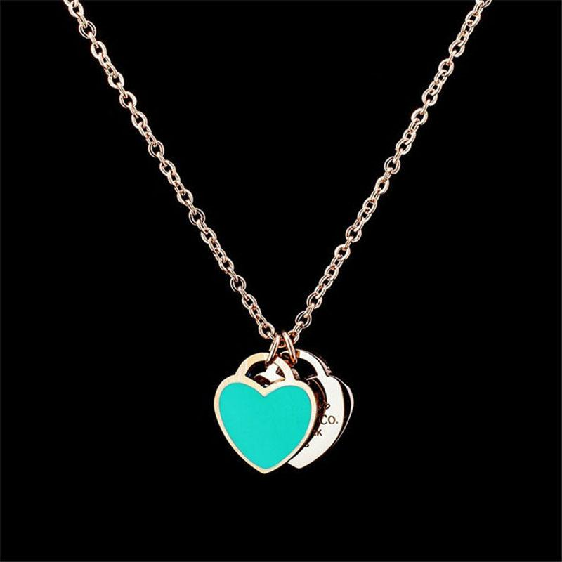 58120ee1f Wholesale Luxury Double Heart Charms Necklace Newest Fashions Heart Pendant  Necklaces Women Silver Chains Necklaces High Quality Fine Jewelry Silver ...