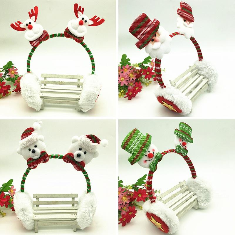 1pc New Christmas Headband Earmuffs Christmas Decorations For Home Small Gifts For Kids Baby New Year Gift