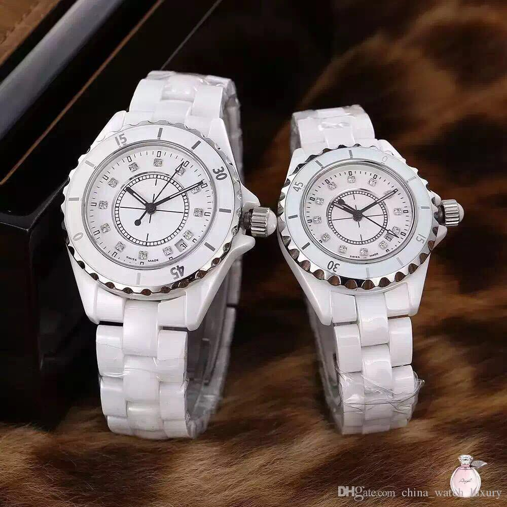2018 Luxury Lady White / Black Ceramic Diamond orologi da polso al quarzo di alta qualità per orologi da donna