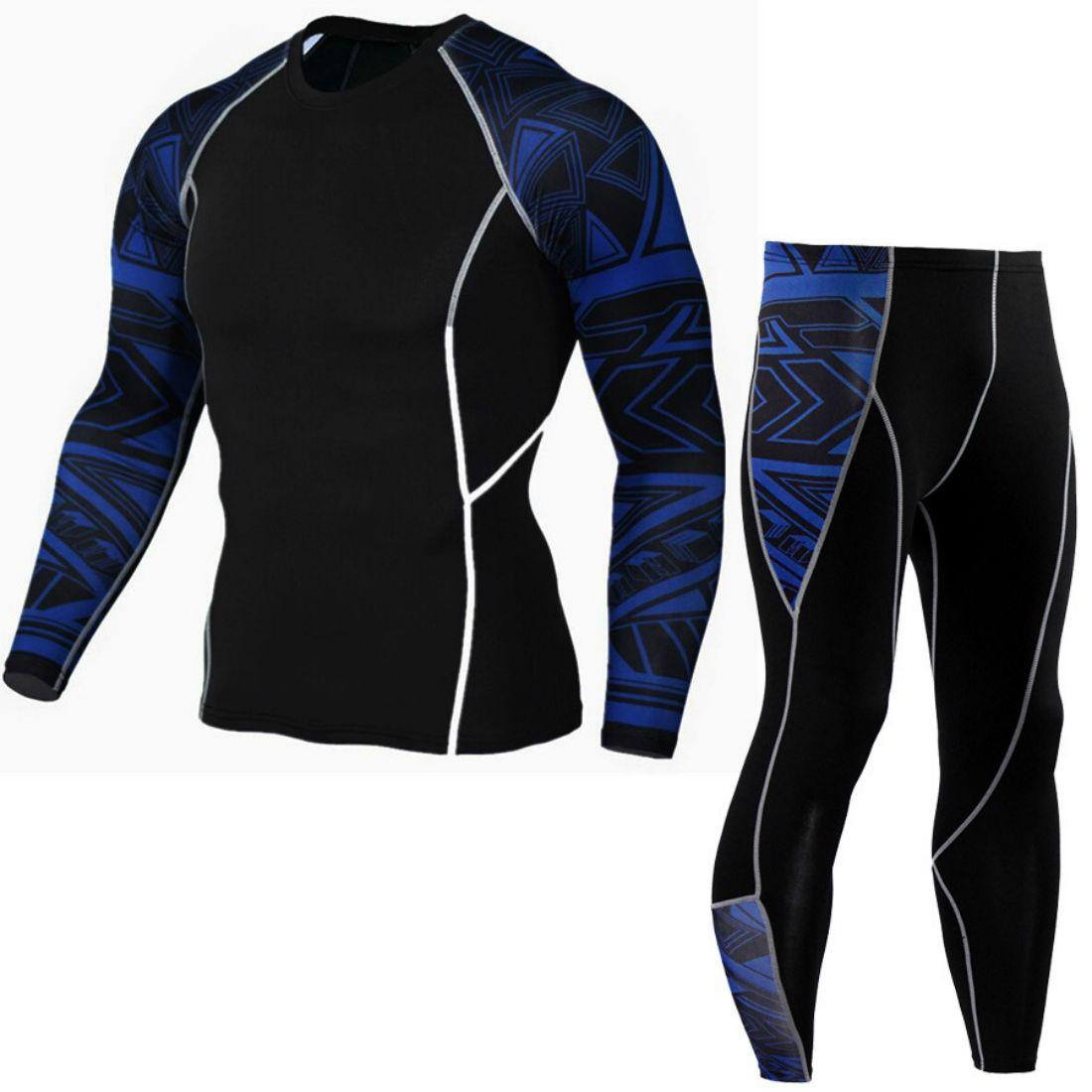 Compre 2 Unidades De Manga Larga Para Hombre Camisas De Compresión Gimnasio  Pantalón Traje Deportivo Para Hombres Traje Sportwear Hombres Ropa Deportiva  ... 4ef392f02b32e