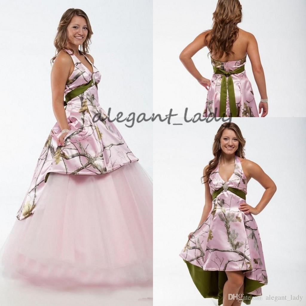 Vintage Pink Camo Bohemian Wedding Dresses with Detachable Train 2019 Halter Backless Short Beach Western Country Bridal Dress