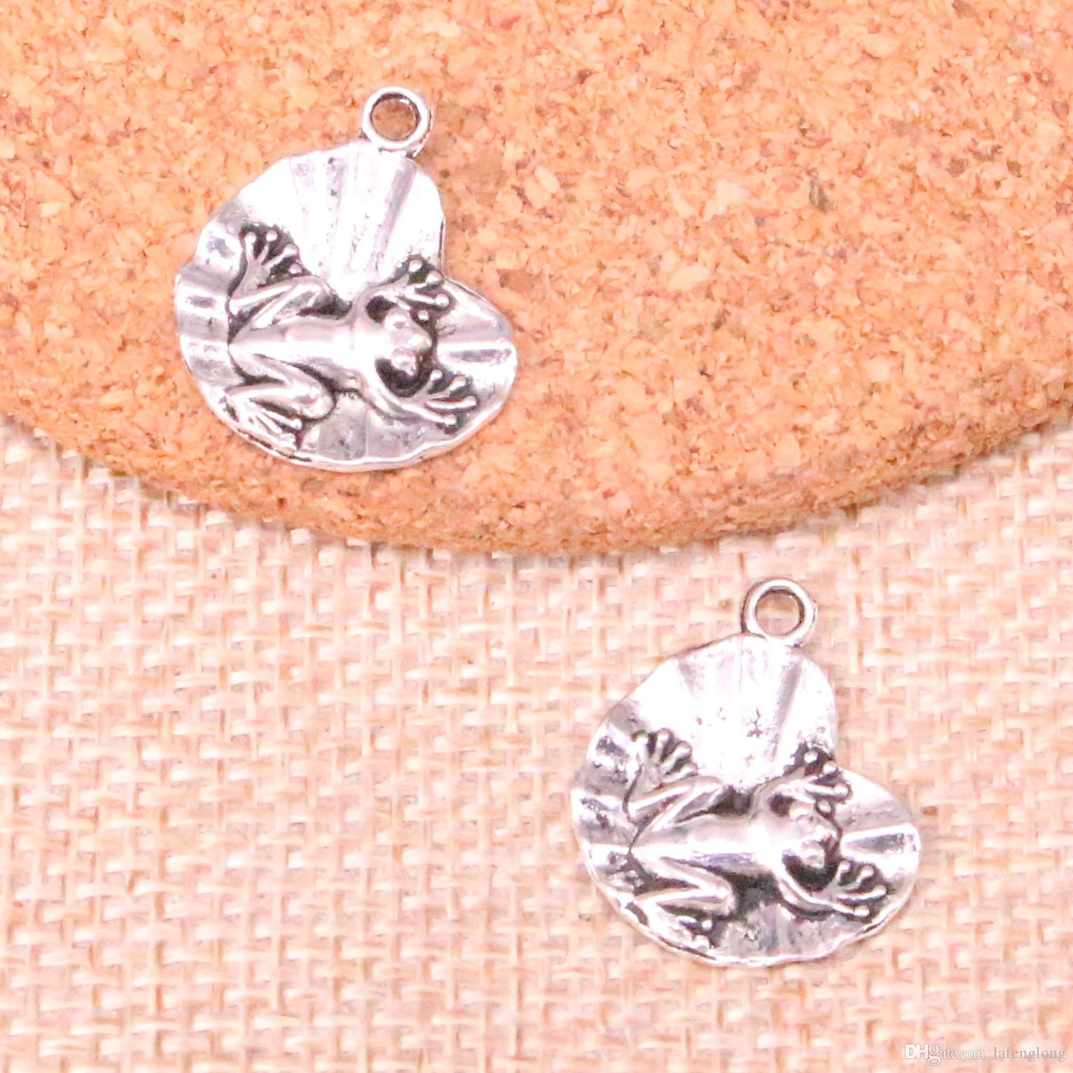 105pcs Antique Silver Plated frog on lily pad Charms Pendants fit Making Bracelet Necklace Jewelry Findings Jewelry Diy Craft 18*17mm