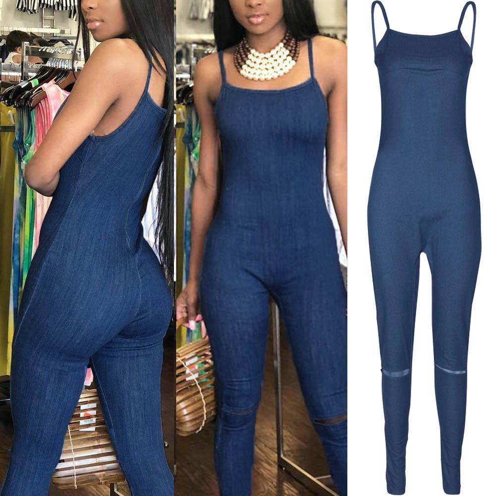 199d9c3a9179 2019 2018 Fashion Summer Women Ladies Denim Blue Jumpsuits Sleeveless  Strapless Back Zipper Skinny Jumpsuits Romper From Wanglon09